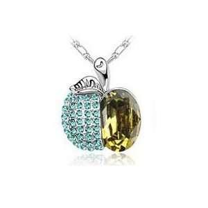 ~ Brown Crystal Apple Pendant with Rhinestones Silvertone Necklace