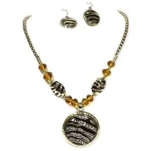 Zebra Necklace Set; 18L; Gold And Black Metal; Clear Rhinestones