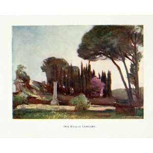 1904 Color Print Old English Cemetery Rome Landscape