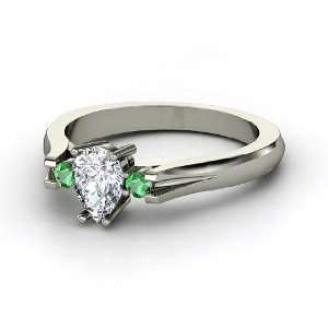 Alyssa Ring, Pear Diamond 14K White Gold Ring with Emerald Jewelry