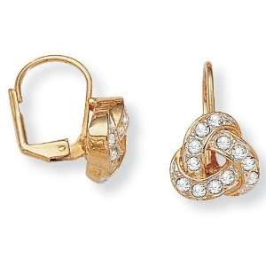 Jewelry Goldtone Metal Crystal Pretzel Pierced Earrings Jewelry