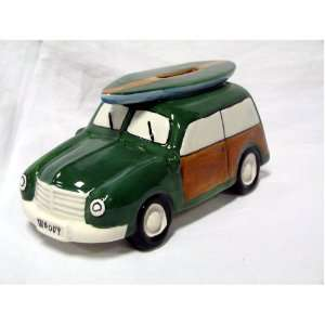 Ceramic Woody Coin Piggy Bank w/ Surfboard Green 7.5 X 3