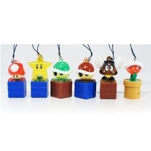 Super Mario Galaxy Light up Figure Strap Keychan Set of 6