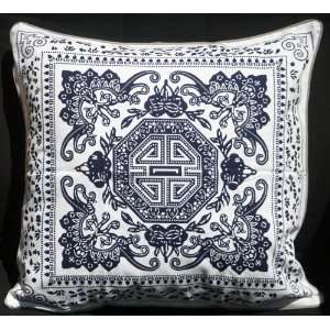 Cotton Cushion Pillow Cover 18X18   Blue Longevity