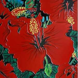 Hand Painted Decorative Ceramic Tile Art   Red Flower