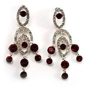 Stunning Burgundy Red Swarovski Crystal Chandelier Earrings (Silver