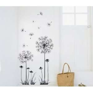 Modern House Black Dandelion removable Vinyl Mural Art Wall Sticker