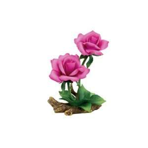 Tea Rose Porcelain Flower Figurine   Pink/White: Kitchen & Dining
