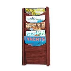 Safco   Solid Wood Wall Mount Literature Display Rack, 11 1/4w x