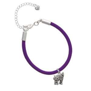 Antiqued Scary Cat Charm on a Purple Malibu Charm Bracelet