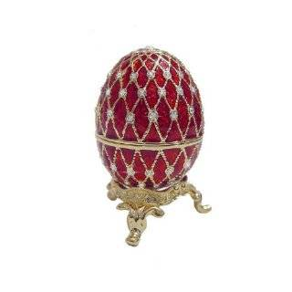 Egg Box on Stand set with Swarovski Crystals 24k Gold Powd Jewelry