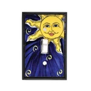 Sun In Dark Blue Sky Ceramic Switch Plate / 1 Toggle