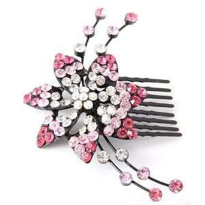 Pink Austrian Crystal Hair Comb Beauty