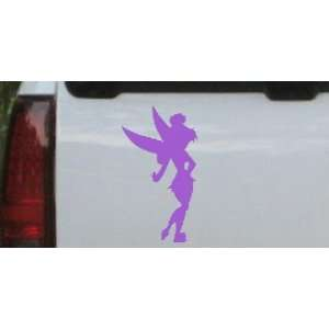 Purple 6in X 10.9in    Sillohette Tinkerbell Cartoons Car Window Wall