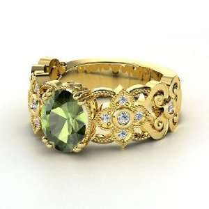Mantilla Ring, Oval Green Tourmaline 14K Yellow Gold Ring