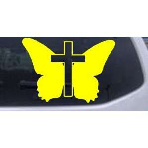 Butterfly With Cross Christian Car Window Wall Laptop Decal Sticker