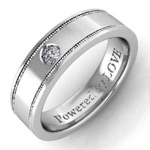 Engraved Mens Diamond Wedding Band Milgrain Comfort Fit in Platinum (G
