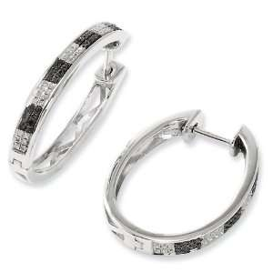Sterling Silver Black & White Diamond Hoop Earrings Jewelry