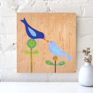 Limited Edition Collage on Wood   Love Birds