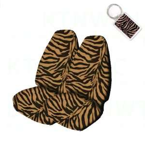 Fit Animal Print High Back Bucket Seat Covers and 1 Key Fob   Tiger