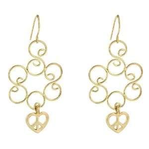 Heart of Peace 14k Gold Plate Dangle Earrings Jewelry