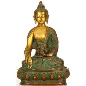 The Medicine Buddha   Brass Sculpture