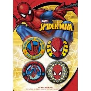 Spider Man   4 Piece Button / Pin / Badge Set (Pack #1