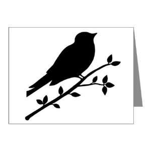 Black and White Raven Bird Silhouette Note Card (Set of 10