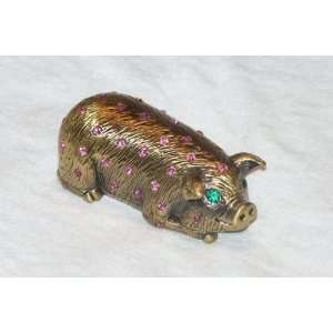Pig Jewelry Box Base Metal with Gold and Bright