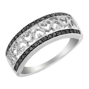 Black Diamond Heart Ring 1/4 Carat (ctw) in Sterling Silver, Size 5.5