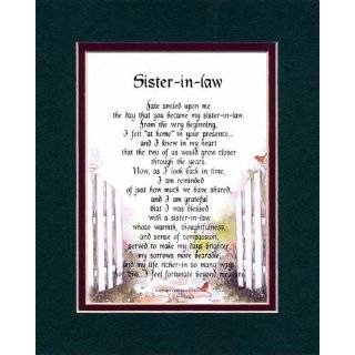 Sister in law Touching 8x10 Poem, Double matted in Dark