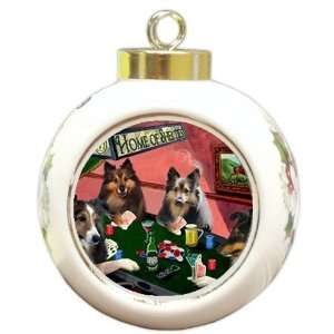 Christmas Holiday Ornament 4 Dogs Playing Poker: Home & Kitchen
