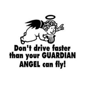 THAN YOUR GUARDIAN ANGEL CAN FLY! Vinyl Sticker/Decal: Everything Else