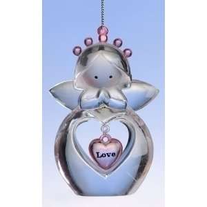 Pack of 8 Heart Shaped Love Cut Out Clear Angel Christmas Ornaments