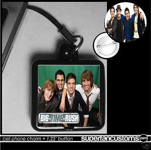 Big Time Rush CELL PHONE CHARM + BUTTON pin 1700