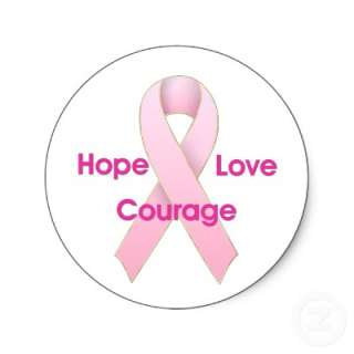Hope/Love/Courage Breast Cancer Ribbon Stickers  Zazzle.co.uk