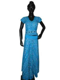 Aqua Blue Mirror Embroidery Lehenga Choli Fashion Party
