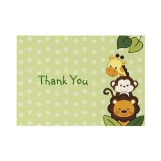 Safari Jungle Animal Flat Thank You Note Cards Personalized Invitation