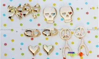 2012 Peace Sign Angel Wings Heart Wishbone Skull Anchor Mask Ear Pin