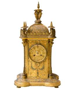 Antique French Guyenot Islamic Gilt Metal Mantle Clock