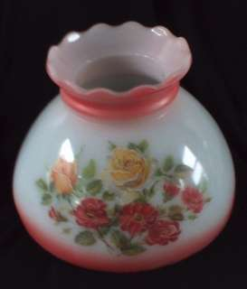 Vintage Milk Glass Light/Lamp Shade Pink ish+ Flower 8