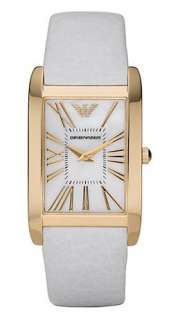 EMPORIO ARMANI WHITE LEATHER & GOLD TONE MOP PEARL DIAL LADY WATCH