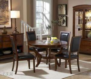 5PC AVALON ROUND CHERRY WOOD & GLASS DINING TABLE SET