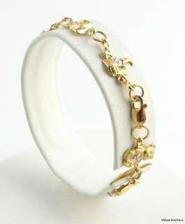 Charm BRACELET   10k Y & W Gold Genuine Diamonds Mother New Mom & Baby