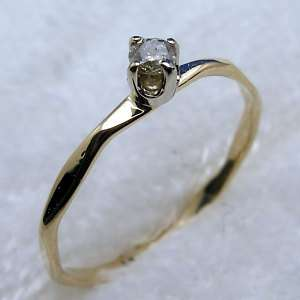 Diamond Baby Ring Hand Crafted 14k Gold, April Birthday