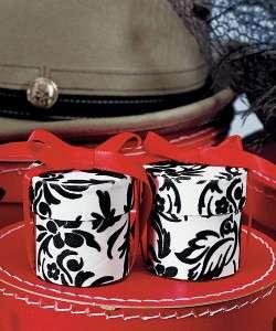 White & Black Love Bird Damask Round Wedding Favor Box/Container