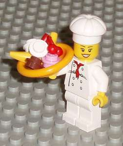 Female Minifigure Chef w/ Food Banana Split Ice Cream in Bowl