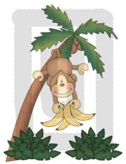 MONKEY SAFARI PALM TREE BANANA NURSERY BABY WALL STICKERS DECALS
