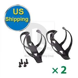 2PCS Carbon CYCLE Bicycle Bike Drink Water Bottle Cage Holder USA Ship