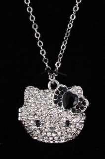 Kitty Black Rhinestone Heart Bow Locket Pendant Necklace Clothing